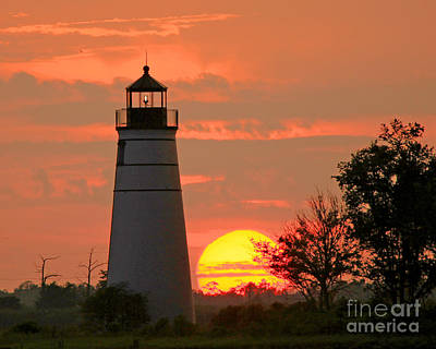 Madisonville Lighthouse Sunset Poster by Luana K Perez