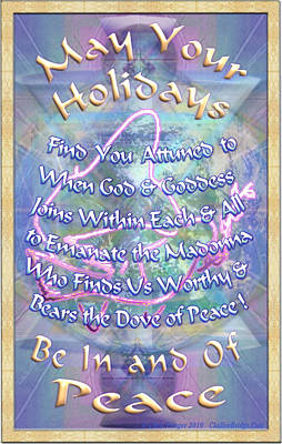 Madonna Dove And Chalice Vortex Over The World Holiday Art I With Text Poster by Christopher Pringer