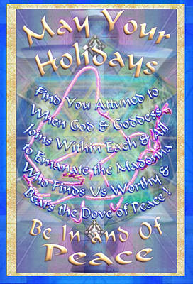 Madonna Dove And Chalice Vortex Over The World Holiday Art With Text Poster by Christopher Pringer
