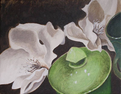 Magnolias With Green Sugar Bowl Poster