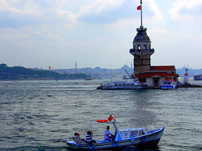 Poster featuring the photograph Maidens Tower Istanbul by Lou Ann Bagnall