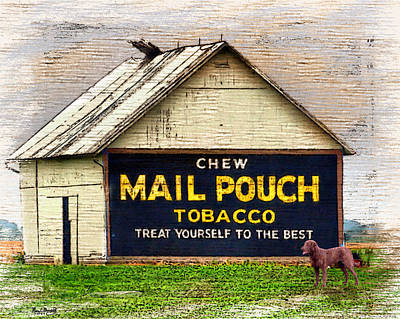 Poster featuring the digital art Mail Pouch Barn by Mary Almond