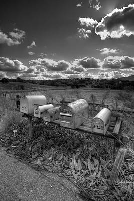 Mailboxes - Black  And White Poster by Peter Tellone