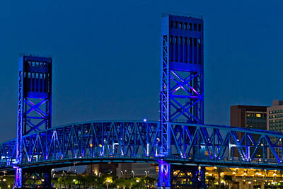 Main Street Bridge Jacksonville Poster by Debra and Dave Vanderlaan