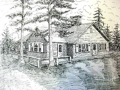 Poster featuring the drawing Maine House by Gretchen Allen