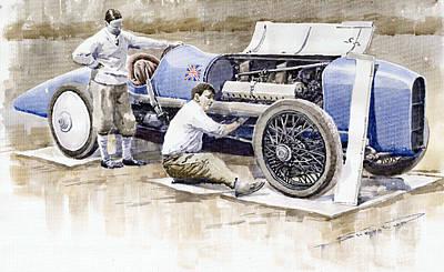 Malcolm Campbell Sunbeam Bluebird 1924 Poster by Yuriy  Shevchuk