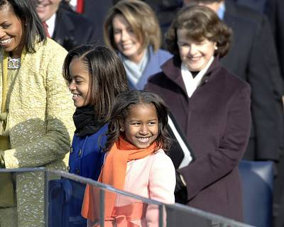 Malia And Sasha Obama At Their Fathers Poster by Everett