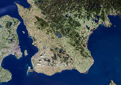 Malmo, Satellite Image Poster by Planetobserver