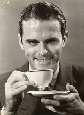 Man Drinking Cup Of Coffee Poster by George Marks