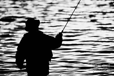 Man Flyfishing On A Lake In Ireland Poster by Joe Fox