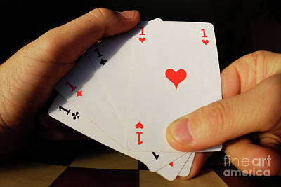 Man Holding Four Aces Cards In Hand Poster by Sami Sarkis