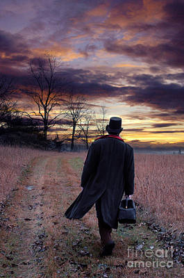 Man In Top Hat With Bag Walking Poster
