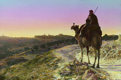 Man On A Camel And Horizon, Bethlehem Poster by Everett