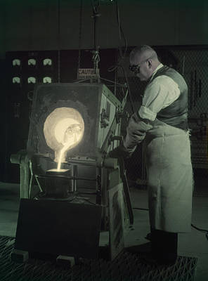 Man Pours New Metal Alloy From Furnace Poster