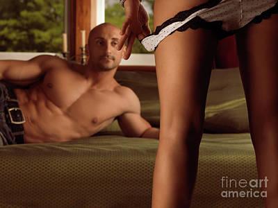 Man Watching Woman Taking Off Her Panties Poster by Oleksiy Maksymenko