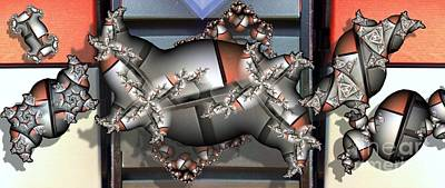 Mandelbrot Meets Mondrian Poster by Ron Bissett