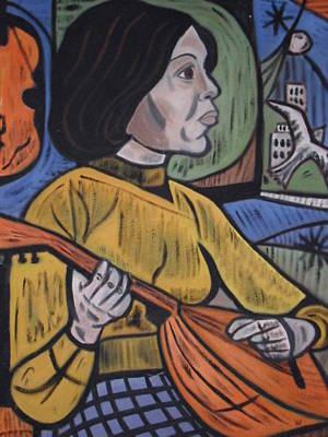 Mandolin Girl Poster by Val Oconnor