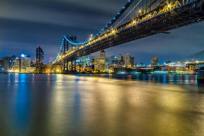 Manhattan Bridge And Downtown Brooklyn At Night. Poster by Val Black Russian Tourchin