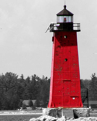 Poster featuring the photograph Manistique East Breakwater Light With Selective Color by Mark J Seefeldt