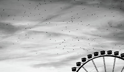 Many Birds Flying Over Giant Wheel In Berlin Poster