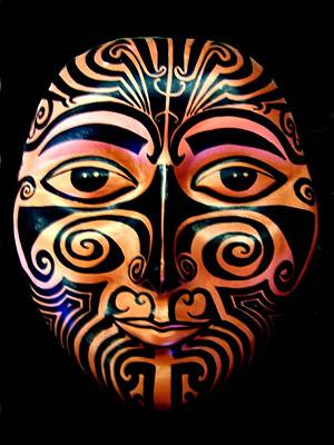 Poster featuring the sculpture Maori Mask by Michelle Dallocchio