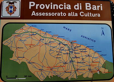 Map Of Bari Italy Poster by Caroline Stella