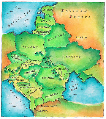Map Of Eastern Europe Poster by Jennifer Thermes