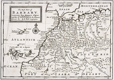Map Of The West Part Of Barbary Poster