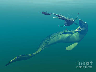Marine Predators Of The Cretaceous Poster by Walter Myers