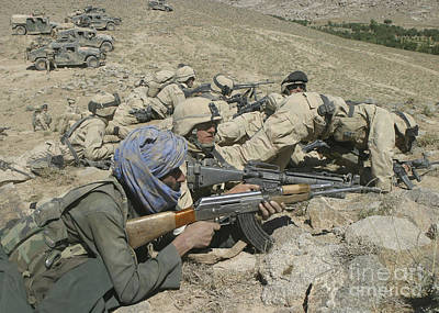 Marines Form A Skirmish Line While Poster by Stocktrek Images