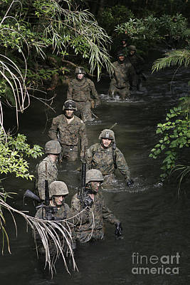 Marines Move To Their Next Obstacle Poster by Stocktrek Images