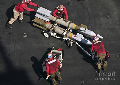 Marines Push Pordnance Into Place Poster