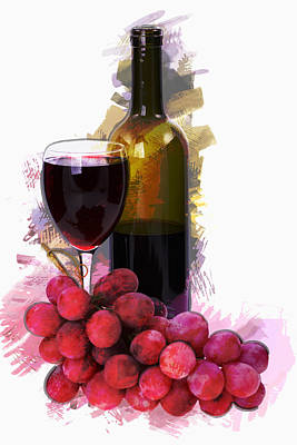 Marker Sketch Wine Glass Bottle And Grapes  Poster by Elaine Plesser