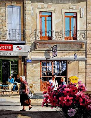 Market Cafe In Gascony Poster