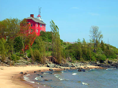 Poster featuring the photograph Marquette Harbor Lighthouse by Mark J Seefeldt