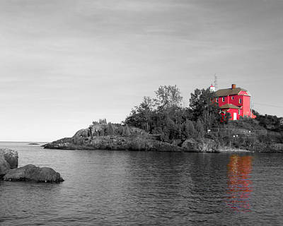 Poster featuring the photograph Marquette Harbor Lighthouse Selective Color by Mark J Seefeldt