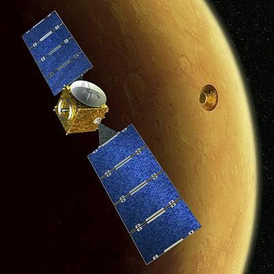 Mars Express And Beagle 2, Artwork Poster by David Ducros