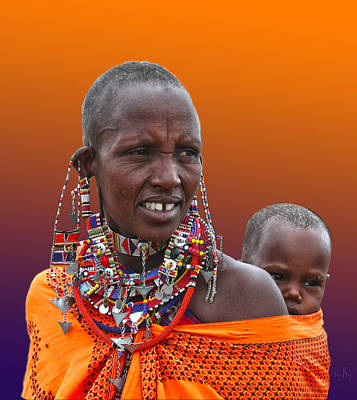 Masai Mother And Child Poster