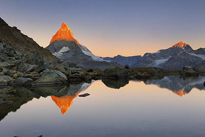 Matterhorn Reflected In Riffelsee Lake Riffelsee Poster by Cornelia Doerr