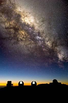 Mauna Kea Telescopes And Milky Way Poster by David Nunuk