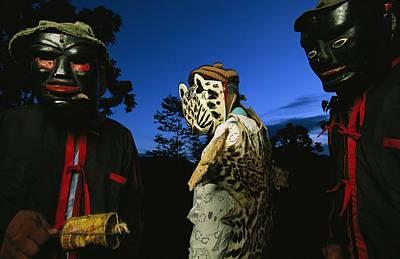 Maya Dancers Dressed As Hunters Poster by Steve Winter