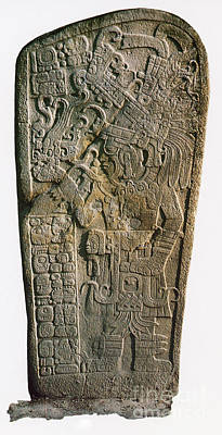 Mayan Calendar Stele, 9th Century Poster by Photo Researchers