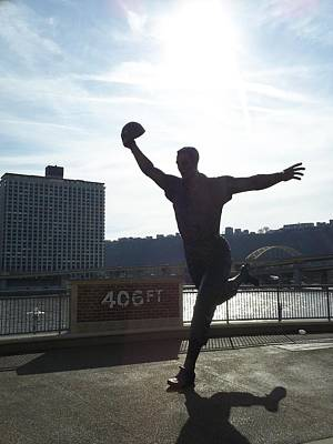 Mazeroski Statue In Pittsburgh Poster by Tiffney Heaning