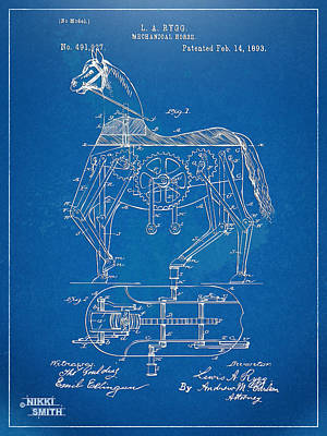 Mechanical Horse Toy Patent Artwork 1893 Poster