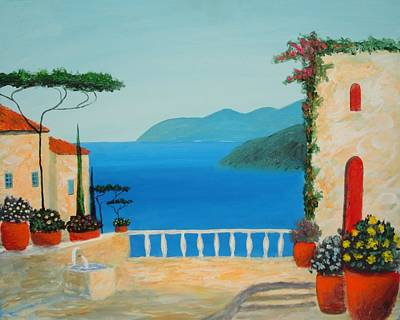 Poster featuring the painting Mediterranean Fantasy by Larry Cirigliano