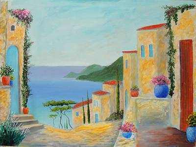 Poster featuring the painting Mediterranean Haven by Larry Cirigliano