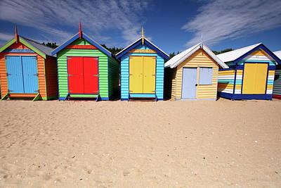 Melbourne Beach Huts In Australia Poster