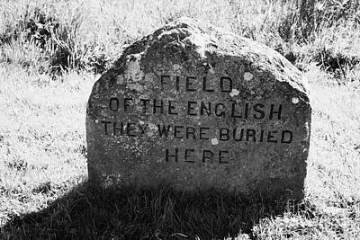 memorial stone for the dead english on Culloden moor battlefield site highlands scotland Poster