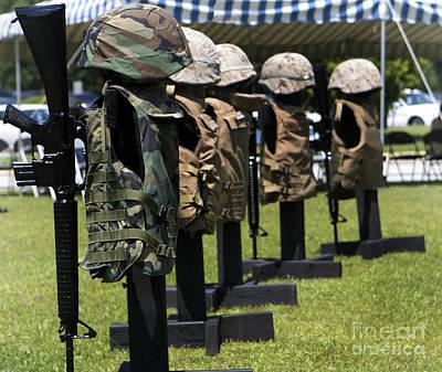 Memorials Of Flak Jackets Poster by Stocktrek Images