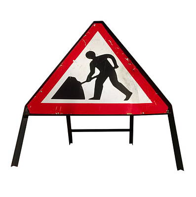 Men At Work Sign Poster by Kevin Curtis